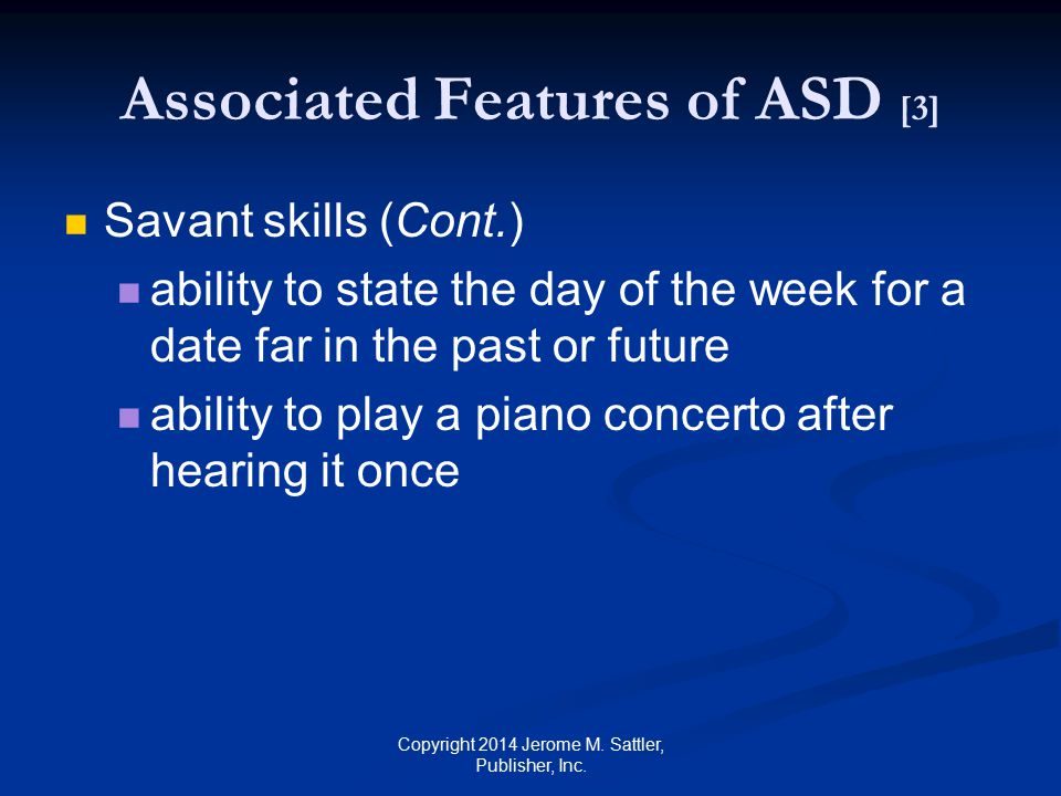 Associated Features of ASD [3]